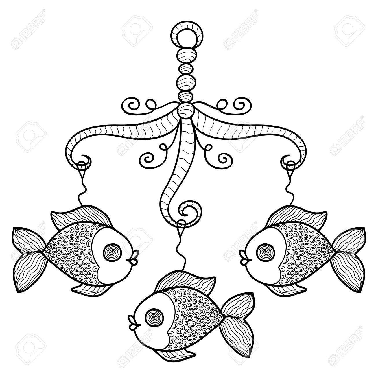 1300x1300 Hand Drawn Baby Crib Hanging Mobile Toy With Fishes. Vector Sketch