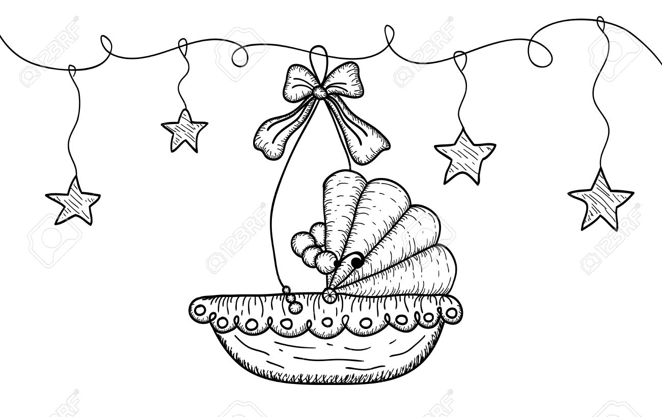 1300x820 Hand Drawn Illustration With Hanging Baby Cradle And Stars. Vector