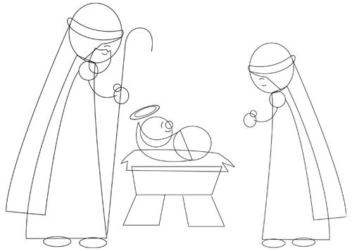 500x357 How To Draw Cartoon Nativity Scene Baby Jesus In Manger