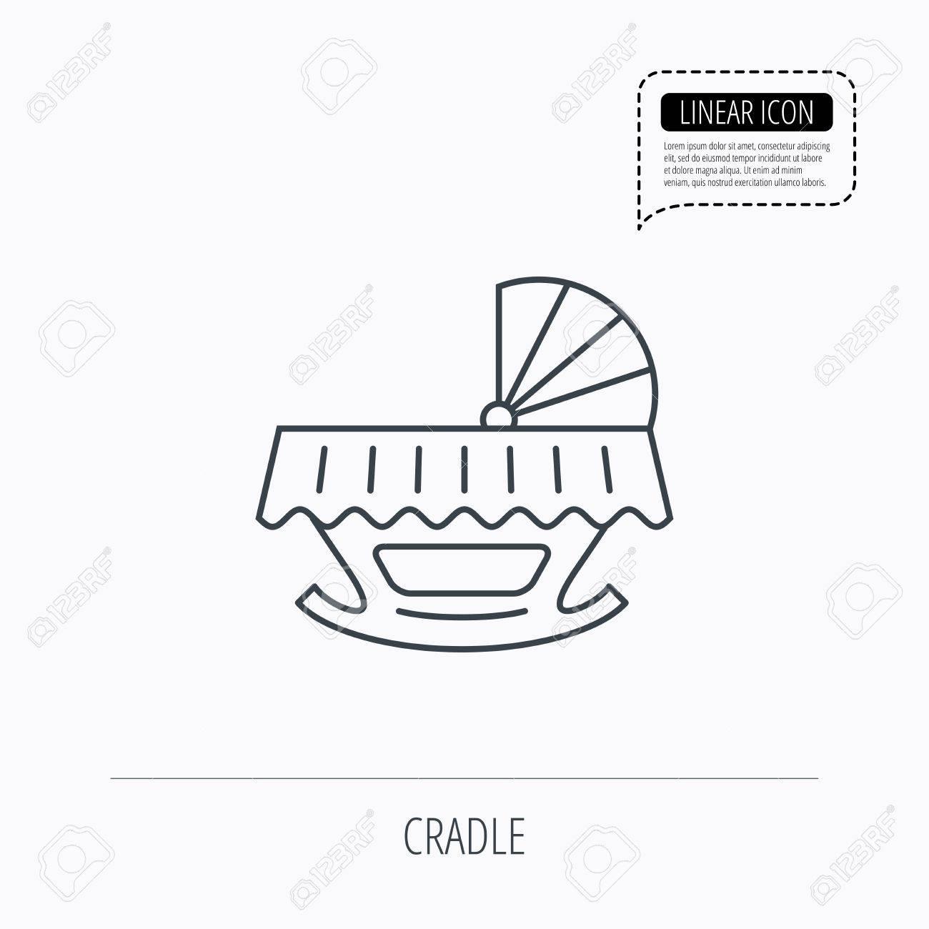 1300x1300 Baby Cradle Bed Icon. Child Crib Sign. Newborn Sleeping Cot Symbol