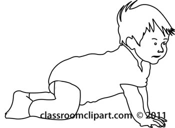 350x256 Children Clipart Outline Baby Crawling With Socks