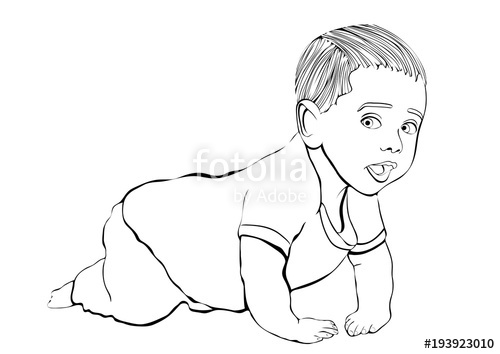 500x354 Crawling Baby Vector Outline Hand Drawing, Coloring, Sketch. Black