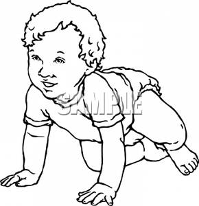 290x300 And White Cartoon Baby Learning To Crawl Clipart Image