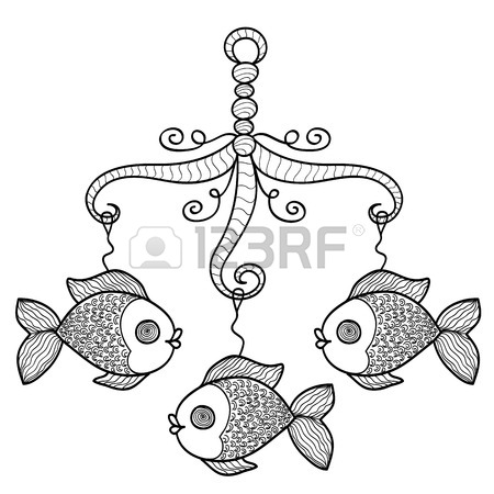 450x450 Hand Drawn Baby Crib Hanging Mobile Toy With Fishes. Vector Sketch