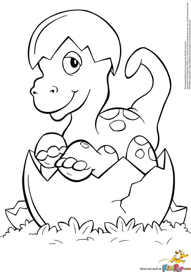 736x1048 Baby Dinosaur Hatching From An Egg Coloring Pages Printable For