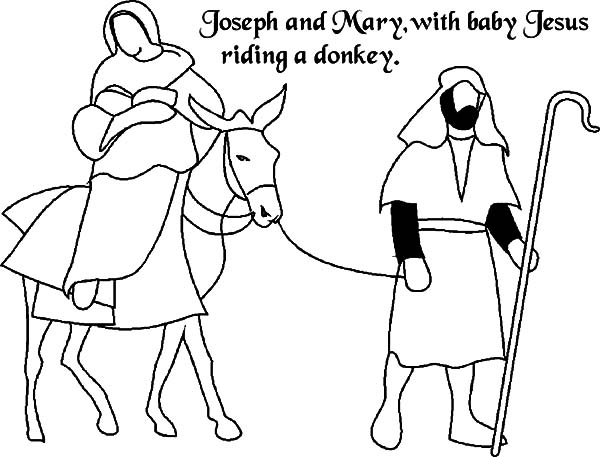 600x457 Joseph And Mary The Donkey With Baby Jesus Coloring Pages