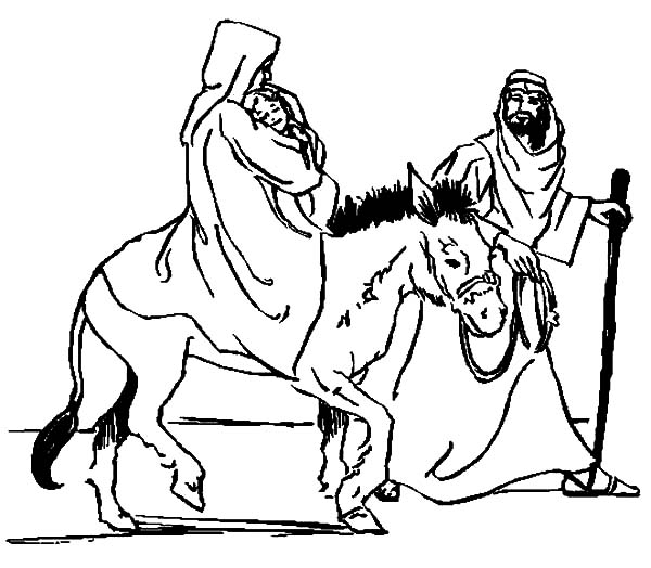 600x524 Mary Carrying Baby Jesus With Joseph And The Donkey Coloring Pages