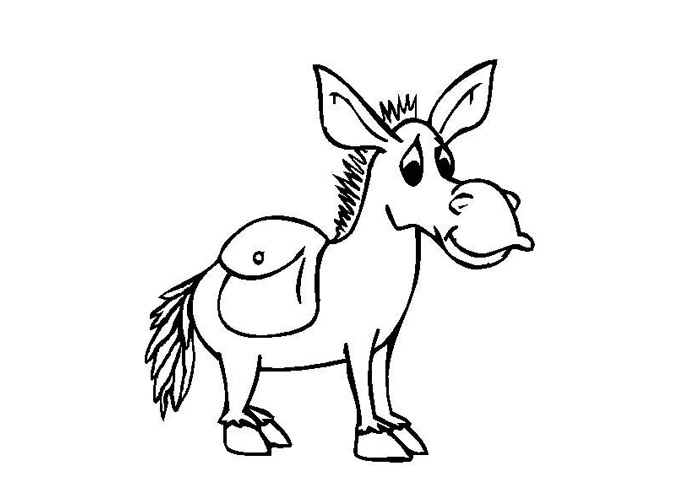 700x500 Donkey Coloring Page