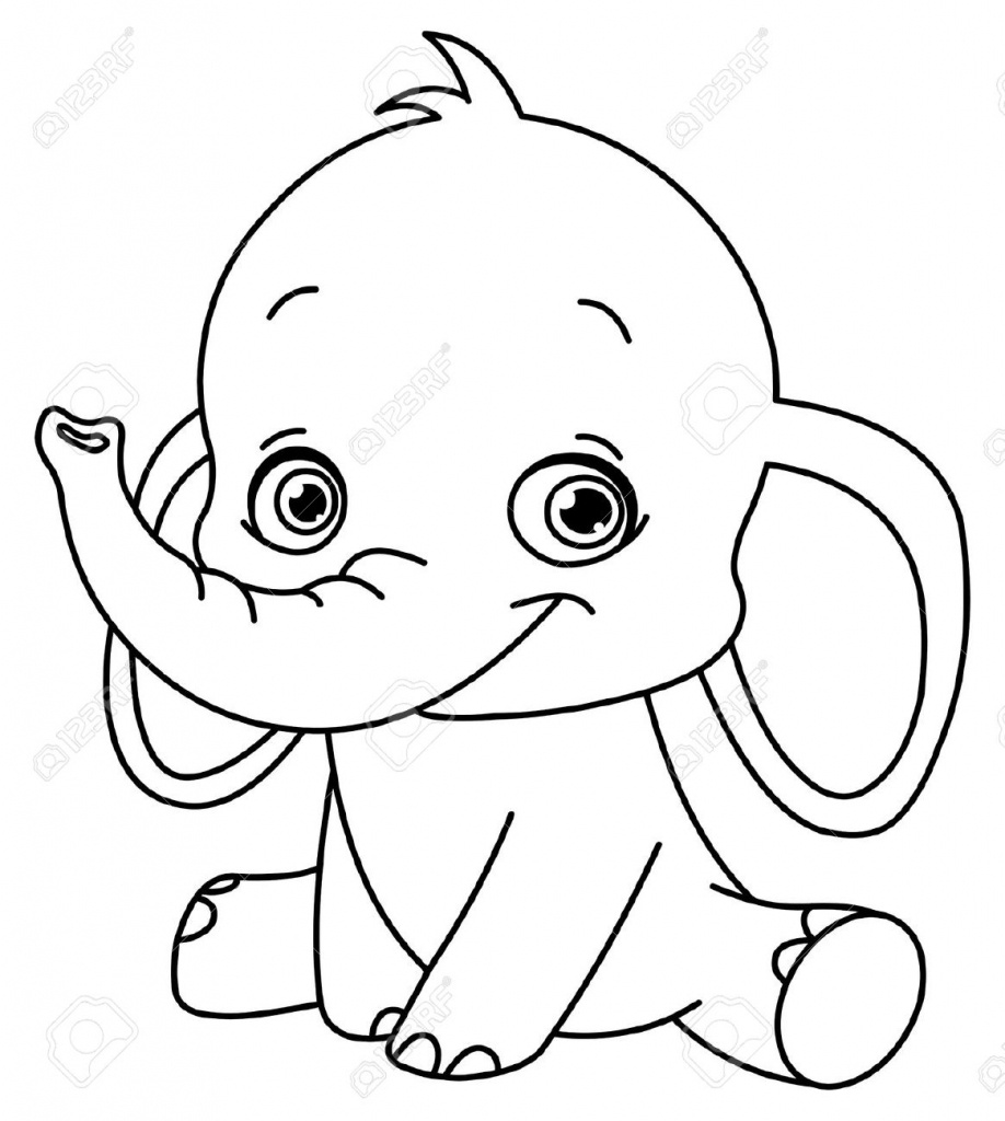 918x1024 Cartoon Drawing Elephant Outlined Baby Elephant Royalty Free