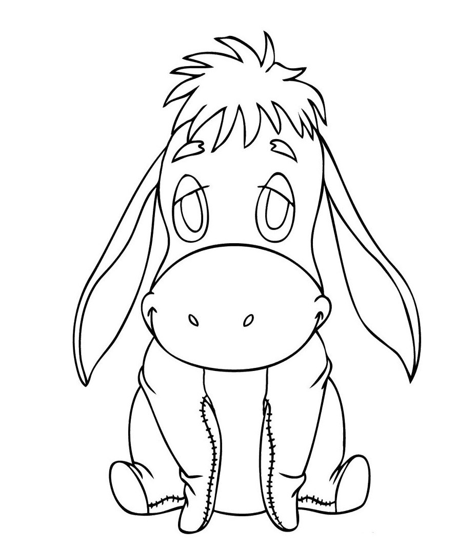 885x1068 Baby Eeyore Coloring Pages Coloring Page For Kids
