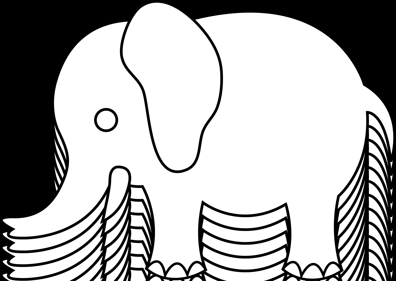6135x4346 Simple Elephant Outline Group