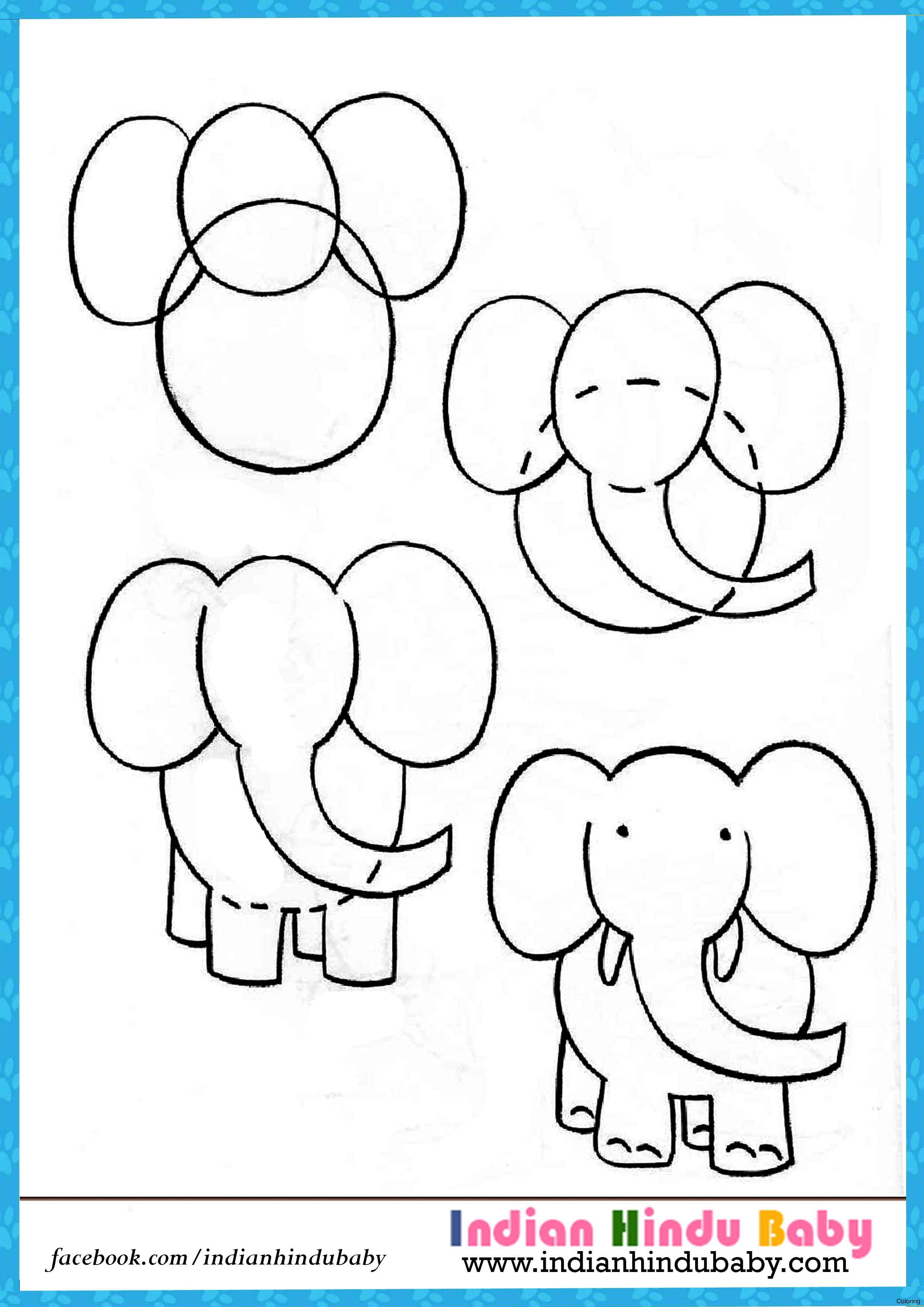 2480x3508 Step By Drawings For Kids Coloring Elephant Drawing Indian Hindu