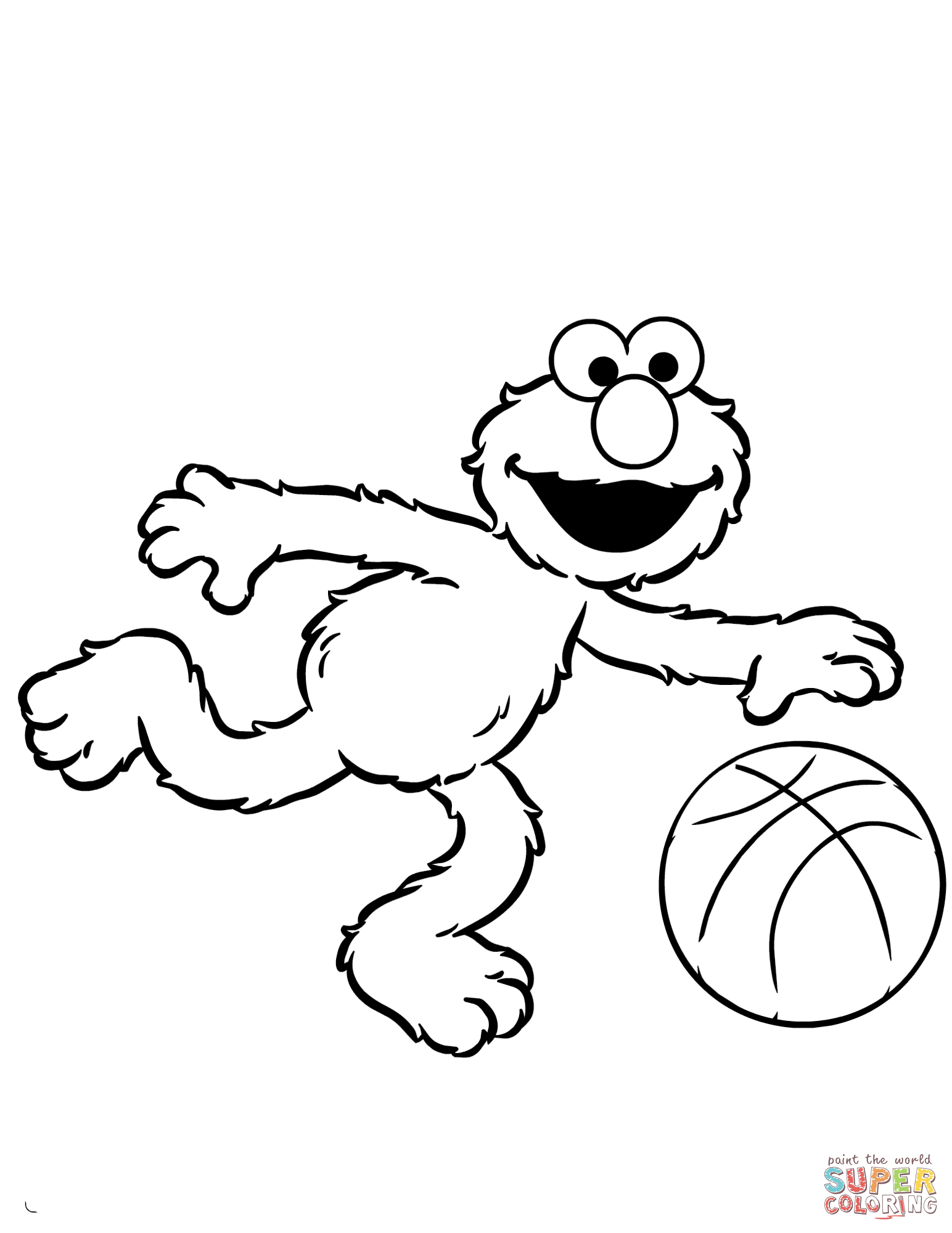 1544x2000 Great Elmo Playing Basketball Coloring Page With