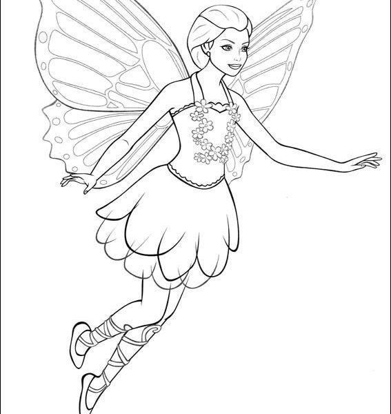 567x600 Fairy Barbie Coloring Pages Mariposa