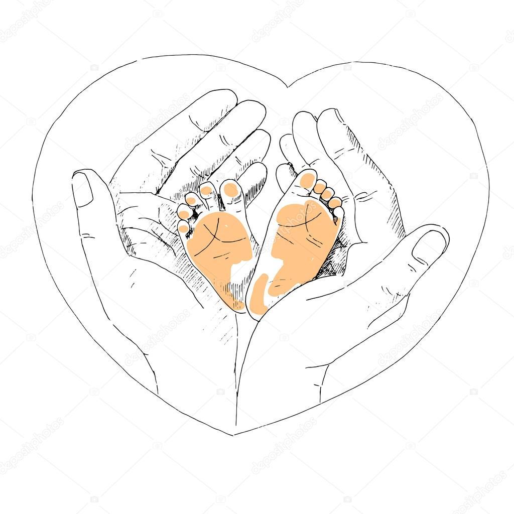 1024x1024 Cute Little Feet Of Newborn Baby In Mother's Hands. Stock Vector