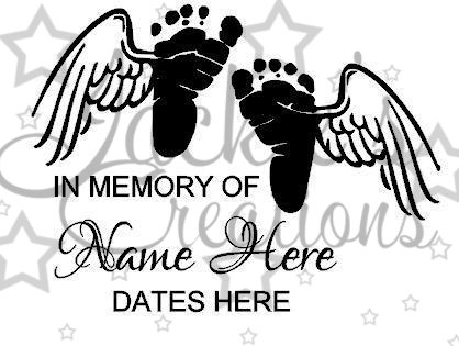 418x315 In Loving Memory Of Decal With Baby Feet And Wings