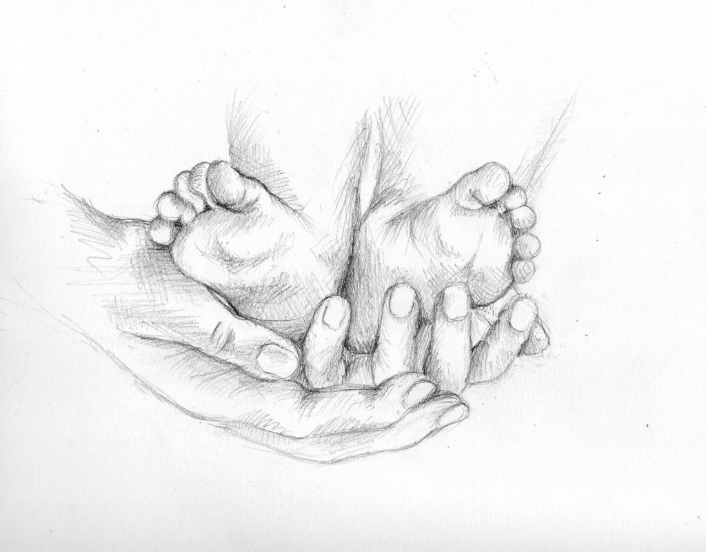 1024x800 Baby Feet Drawing Pencil