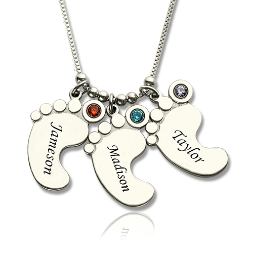 500x500 Personalized Mothers Necklace Baby Feet Charm