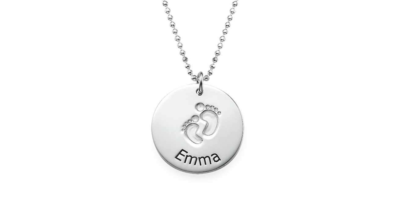 1300x731 Sterling Silver Baby Foot Necklace