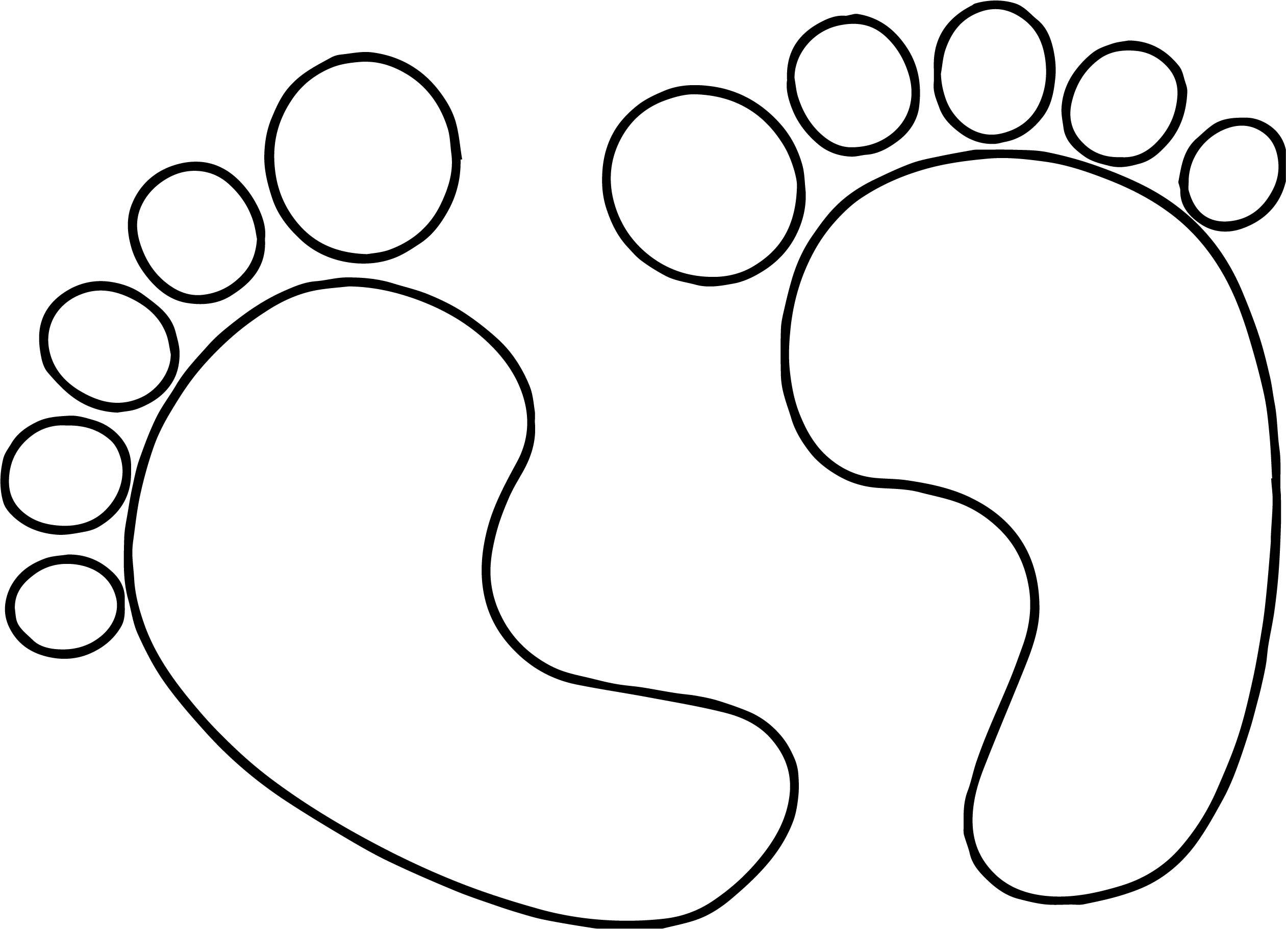 feet coloring pages - baby footprint drawing at free for