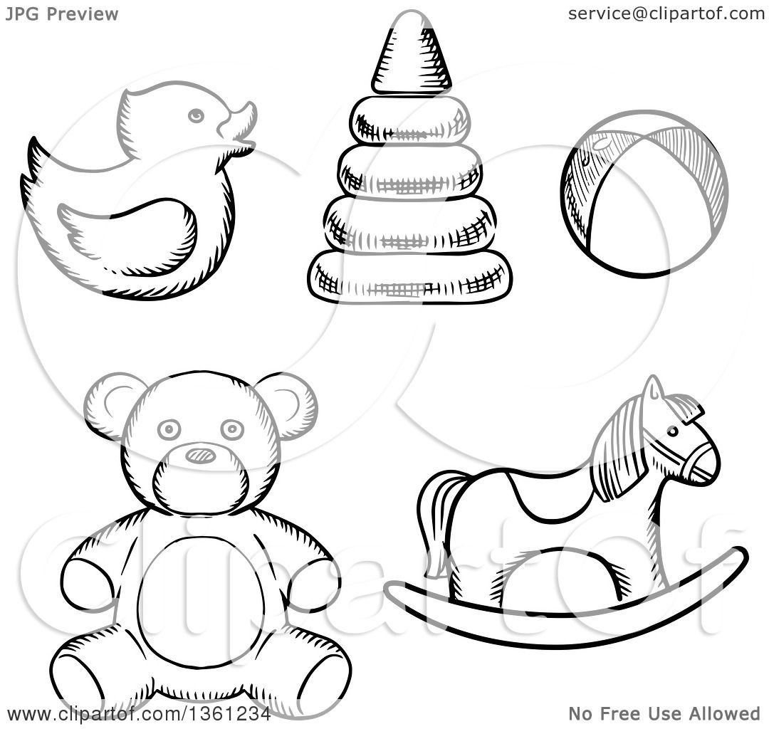 1080x1024 Clipart Of Black And White Sketched Baby Toys