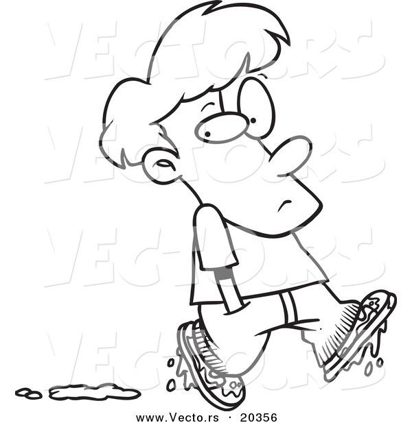 600x620 Vector Of A Cartoon Boy Leaving Muddy Footprints