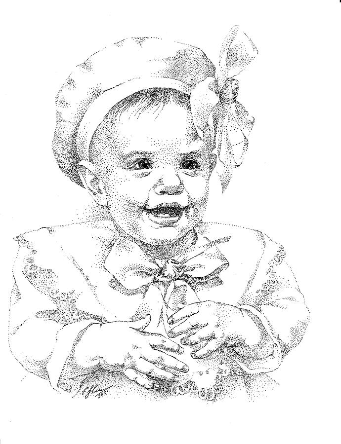 690x900 Baby Girl. Stippling. Commission. Drawing By Alena Nikifarava