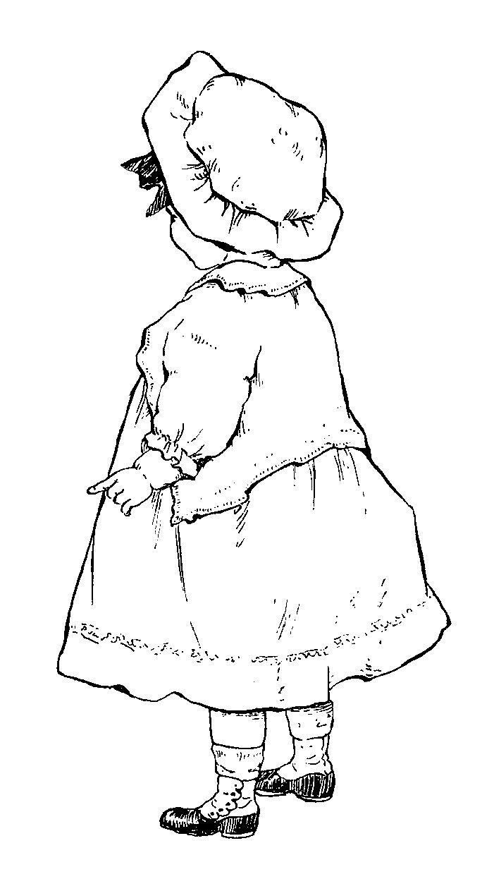 701x1263 Digital Stamp Design Vintage Girl Drawing Illustration Baby Child