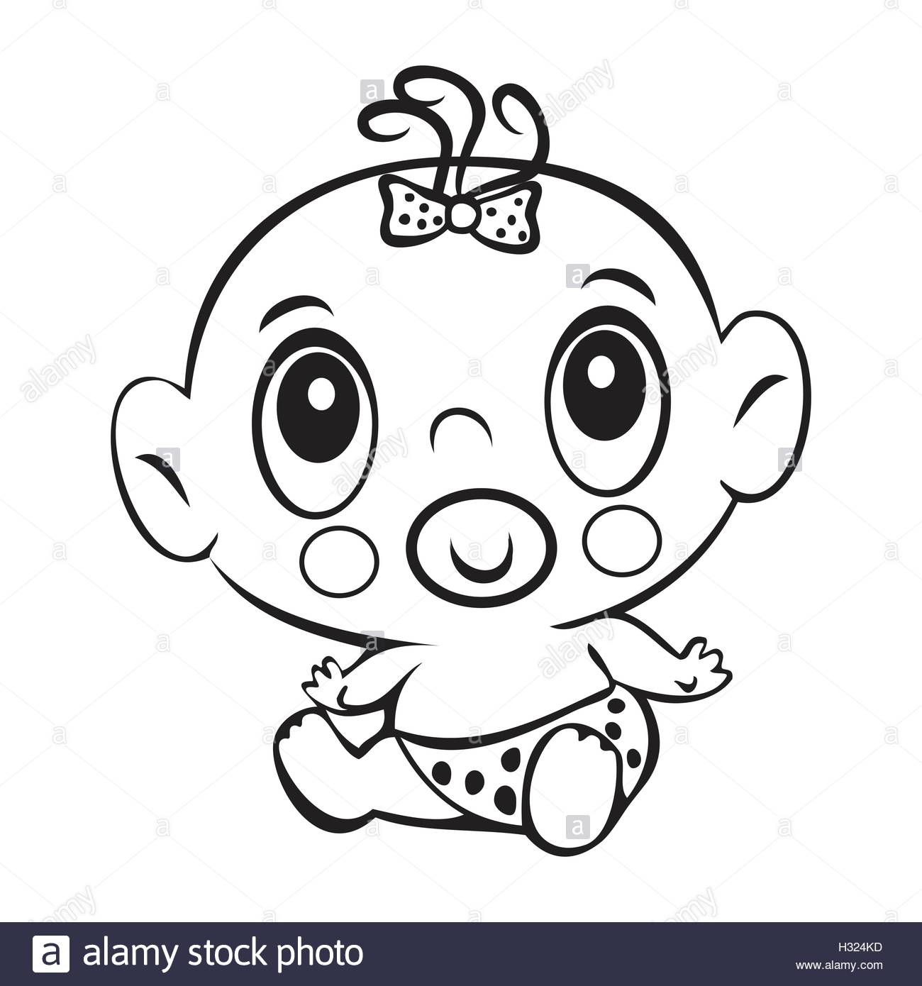 1300x1390 Drawings Of Baby Girls Funny Baby Girl. Cute Baby Girl Sitting