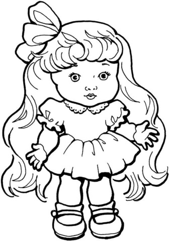 336x480 Baby Girl Doll With Long Hair Coloring Page Free Printable