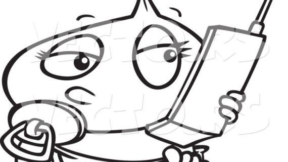 570x320 Baby Girl Drawings Vector Of A Cartoon Ba Girl Using A Cell Phone