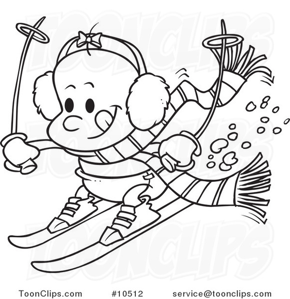 581x600 Cartoon Black And White Line Drawing Of A Baby Girl Skiing