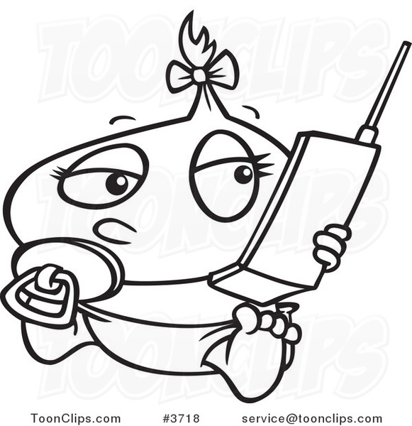 581x600 Cartoon Black And White Line Drawing Of A Baby Girl Using A Cell