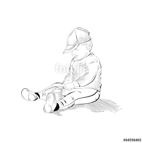 500x500 Sketch Of Baby Boy, Baby Girl, Kid, Child, Toddler, Infant In Ha