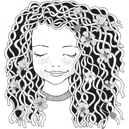 450x450 Baby Girl With Long Curly Hair Stock Vector Imhope.yandex.ru