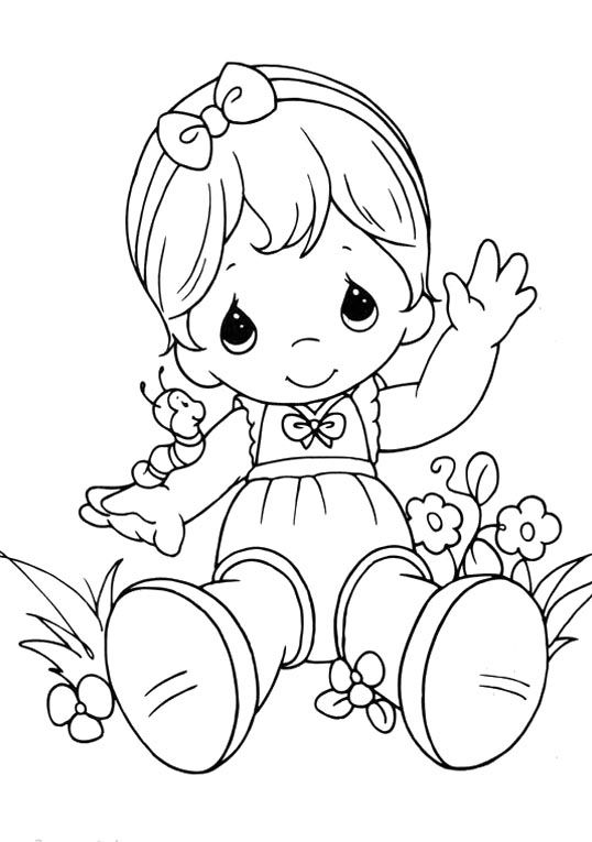 538x765 Baby Girl Coloring Page Free Download