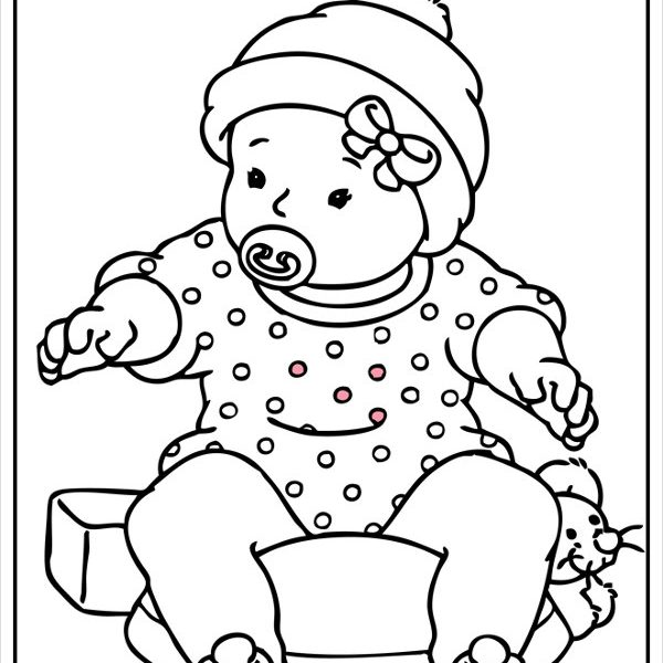 600x600 Baby Girl Colouring Pages Coloring Page