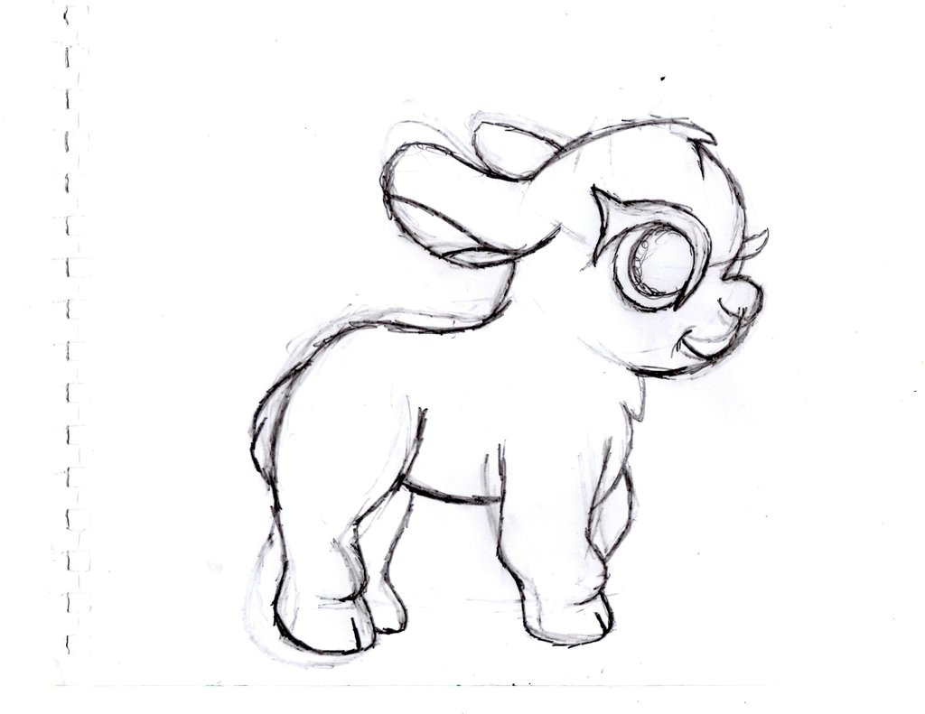 1024x791 Baby Goat Sketch 2 By Tessasquirrel