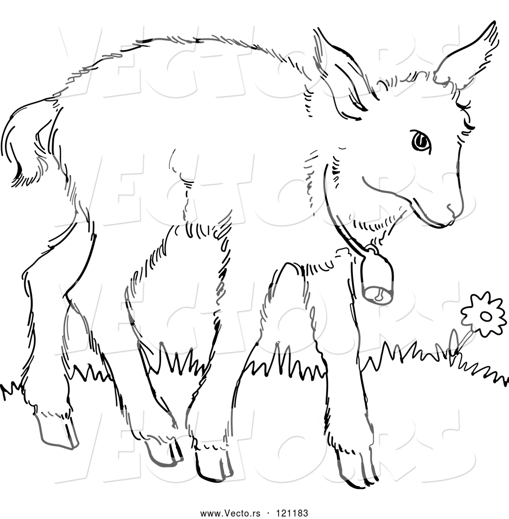 1024x1044 Vector Of Cartoon Retro Vintage Blacknd White Baby Goat