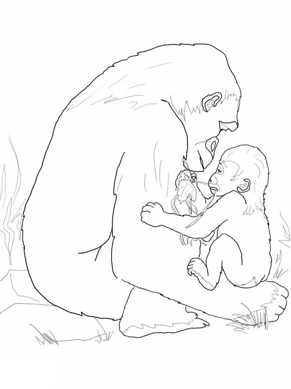 600x800 Gorilla, Mother Gorilla Playing With Her Baby Coloring Page