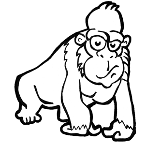 300x300 How To Draw Cartoon Monkeys, Apes, Gorillas, And Chimps Drawing
