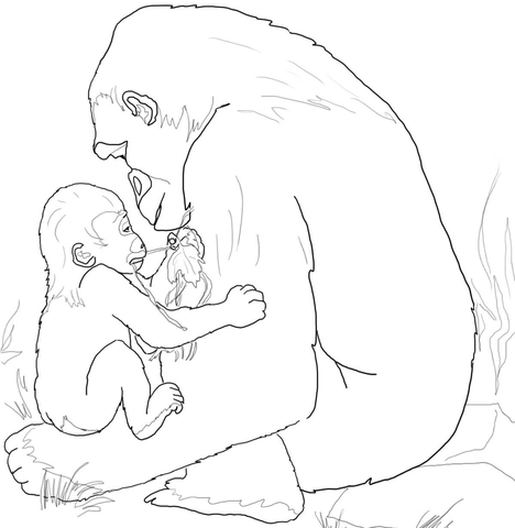 468x480 Baby Gorilla Playing With Mother Coloring Page Free Printable