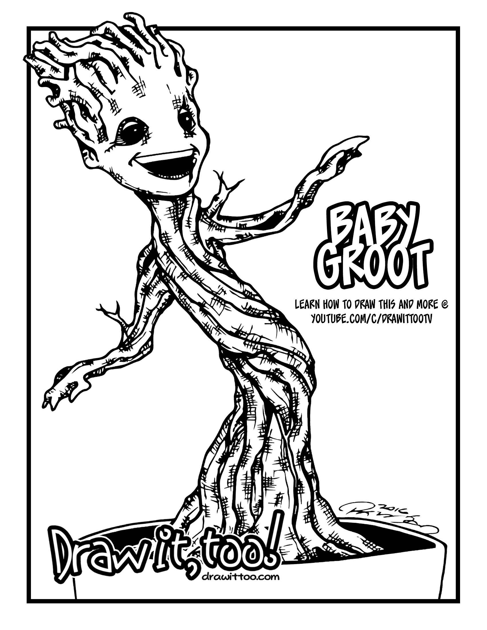 1700x2200 Baby Groot Guardians Of The Galaxy Coloring Page 2