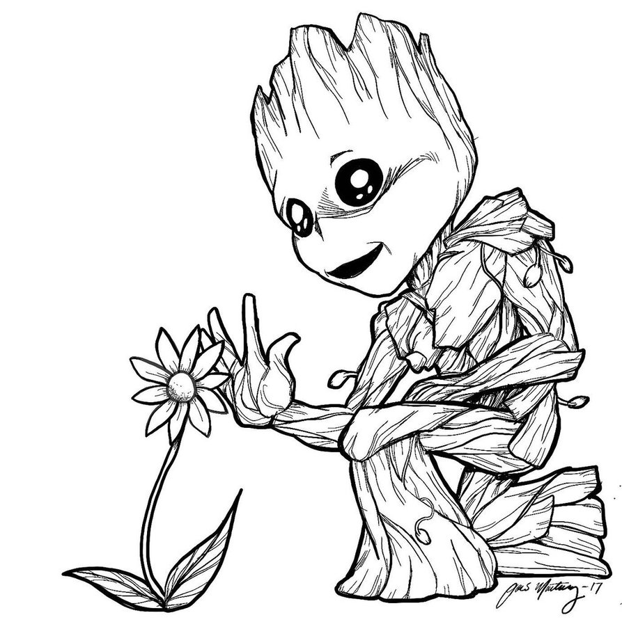 893x894 Baby Groot Makes A Friend By Zombieinmybed