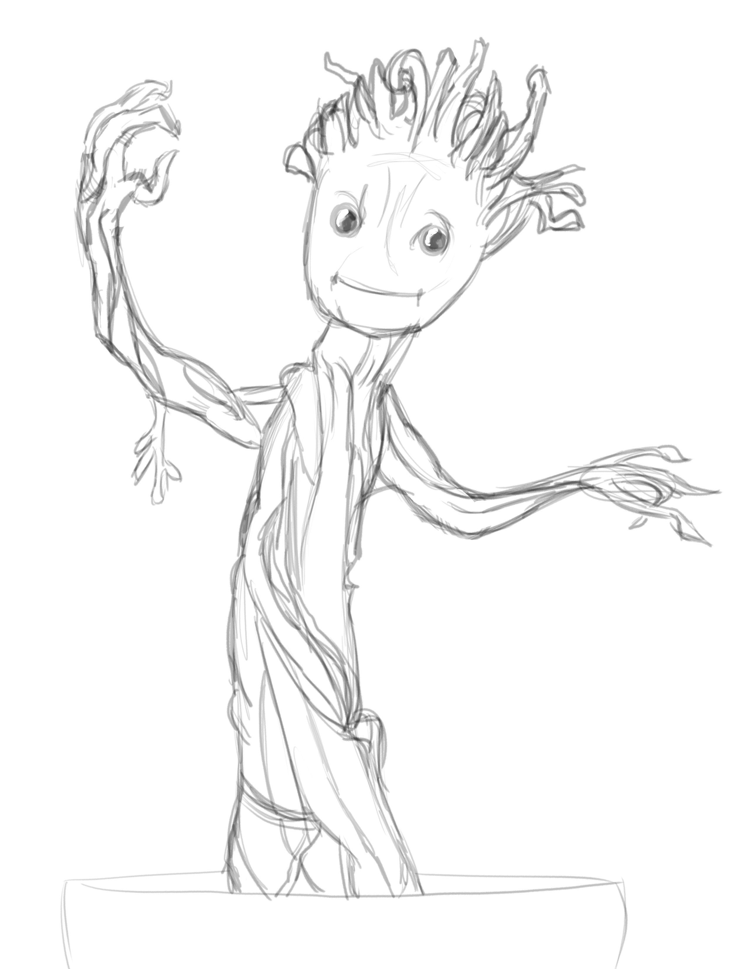 Baby Groot Drawing At Getdrawings Com Free For Personal Use Baby