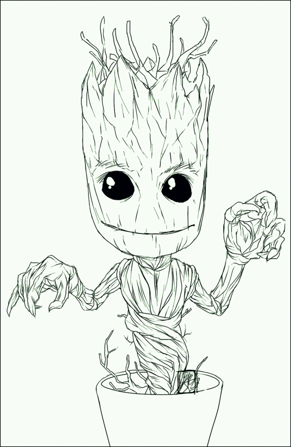 600x921 Commission Pixel Baby Dancing Groot By Invisiblerainart