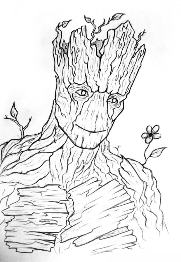 620x900 Groot Coloring Pages
