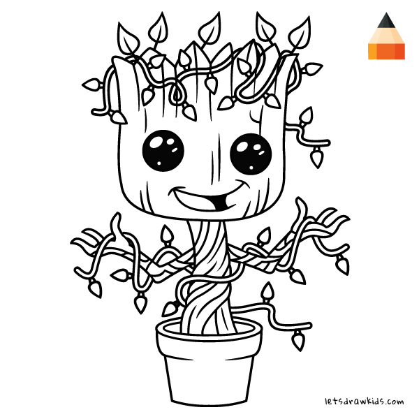 600x600 How To Draw Baby Groot For Christmas