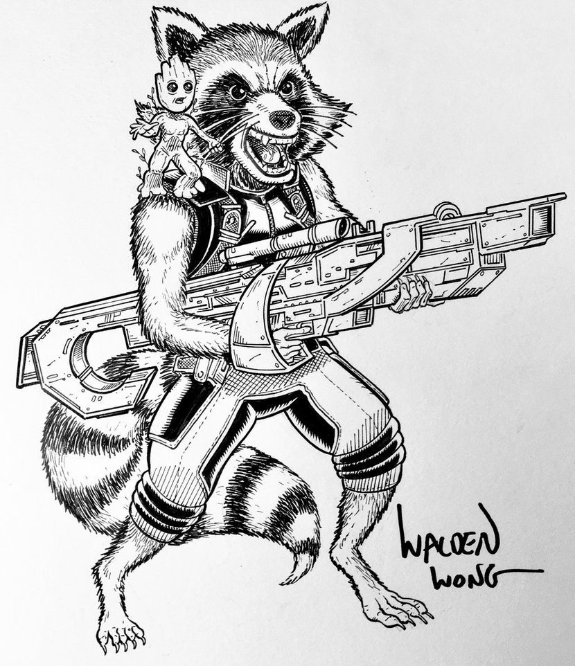 830x962 Inktober Day 27 Rocket Raccoon And Baby Groot By Waldenwong