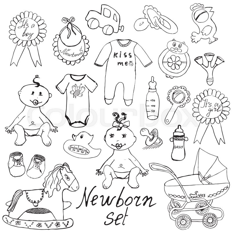 800x800 Baby Icons, Toys, Clothes And Cradle, Hand Drawn Sketch Vector